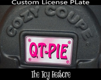 Pink Custom License Plate : New Replacement Decals Stickers for Little Tikes Tykes Cozy Coupe Car