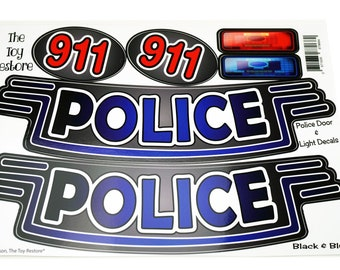 Black & Blue Police Decals Replacement Stickers fits Step 2  Little Tikes Custom Cozy Coupe Car Truck ride on