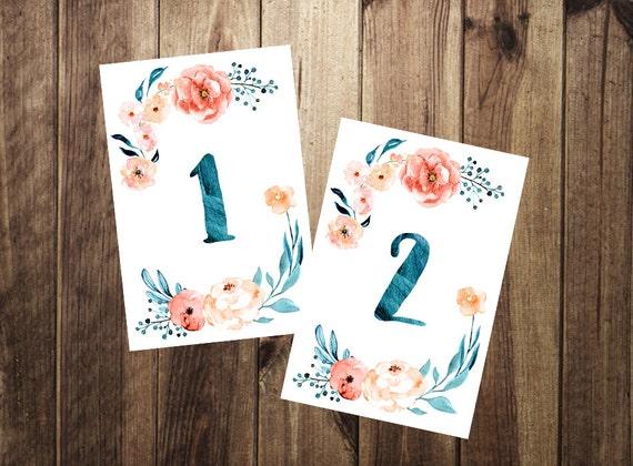 Cuadro acuarela números 1-10 muestra imprimible boda números   Etsy