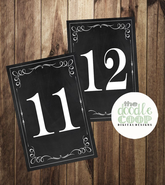 Table Number Signs 11 20 Chalkboard Table Numbers Printable | Etsy