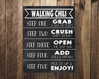 Chili Bar Sign, Walking Chili Sign, Make Your Own Chili Printable, Tailgate Party, Wedding Reception, Sweet Sixteen, Birthday Party,DIY