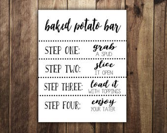 Baked Potato Bar Sign, Make Your Own Baked Potato, St Patricks Day Party, Wedding Reception, Irish, Birthday Party, Graduation Party Food