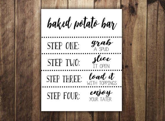 Baked Potato Bar Sign Make Your Own Baked Potato St Patricks Etsy