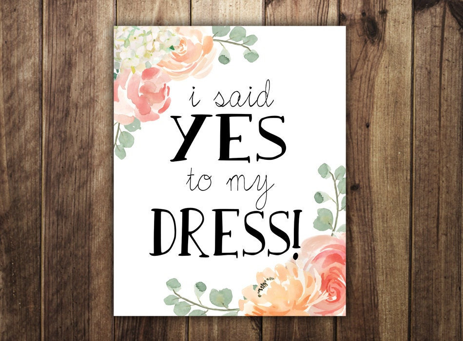 Say Yes To The Dress Printable Paddle Signs Dress Shopping Etsy