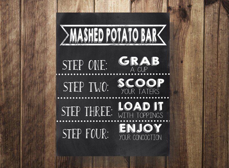 Potato Bar Sign Mashed Potatoes Sign Make Your Own Loaded image 0