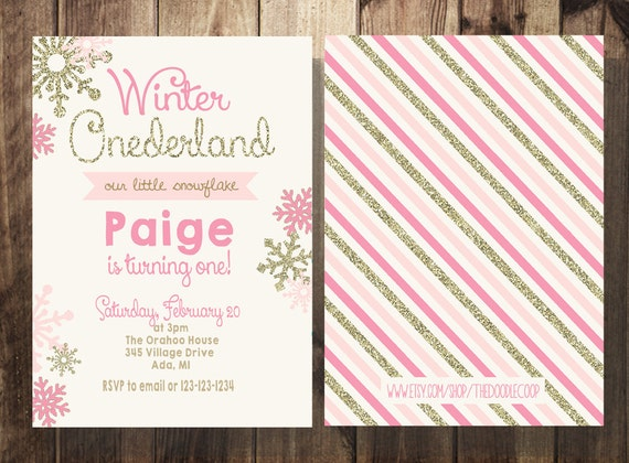 Winter Onederland Invitation, First Birthday, Girl Birthday, Pink and Gold  Printable Invites, Double Sided, Birthday Invitation