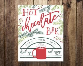 Hot Chocolate Bar Sign   Hot Cocoa Bar   Winter Wedding   Winter Baby Shower   Winter Bridal Shower   Evergreen Wedding   Teacher Christmas