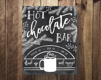 Hot Chocolate Bar Sign, Hot Cocoa Bar Sign, Winter Wedding, Winter Baby Shower, Winter Bridal Shower, Evergreen Wedding, Teacher Christmas
