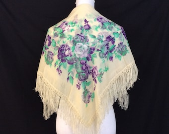 White Floral Shawl With Fringe Purple Head Scarf Mothers Day Gift For Mom Birthday Grandmother Coworker Friend