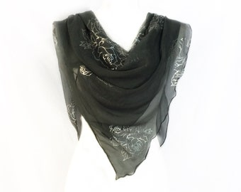 Dark Gray Silk Scarf Best Friend Holiday Gift Grey Floral Neck Birthday For Grandmother Sparkly Head Wrap Her