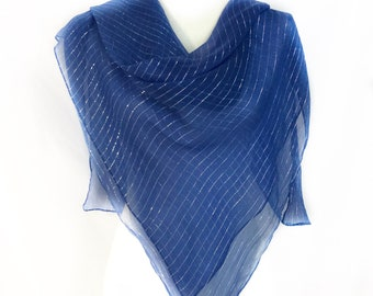 Electric Blue Silk Scarf Solid Color Square Gift For Jewish Friend Birthday Best Summer Wedding Cover Up Lady