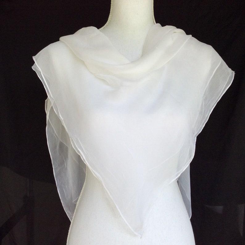 af1d242c077 Classic White Silk Scarf, Bridal square shawl, White Sheer Silk chiffon  scarf, White Shawl for Destination Wedding, Plain White Scarf
