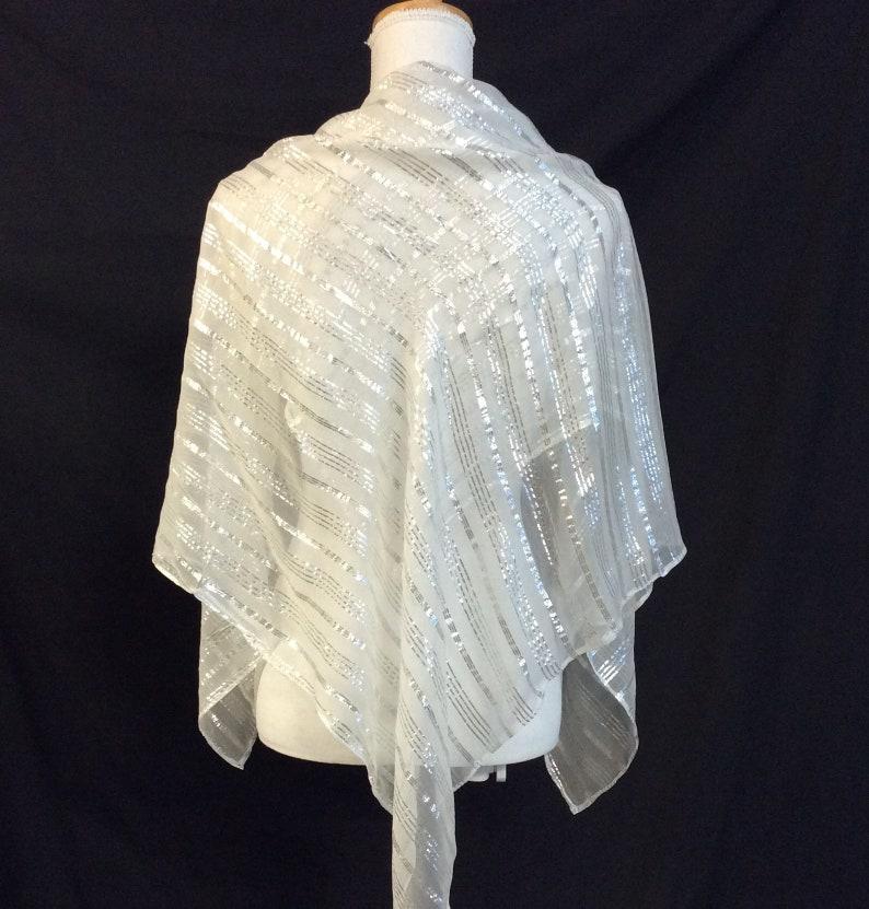 b1213d71210 Sparkly Silver White shawl, White Scarves for Bride, Striped scarf, Wedding  Shawl for Bride, Silk Chiffon Scarf, Large Scarf for Wedding