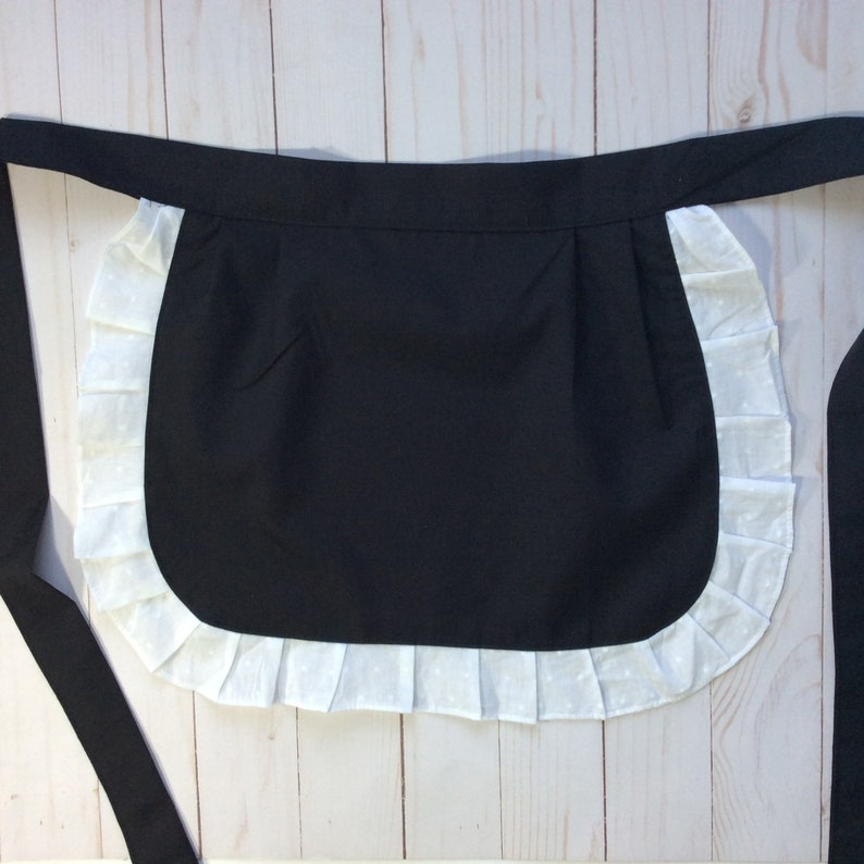 Black white ruffles Apron Costumes Costume Dancing Aprons for Competition Cute Catering Aprons Black Bachelorette Apron