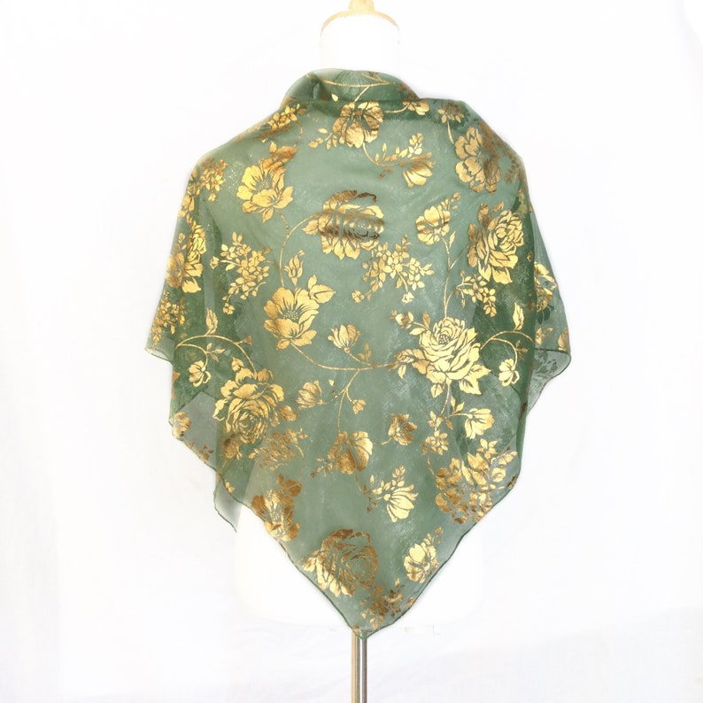 Gold On Green Head Scarf Care Package Gift For Cancer