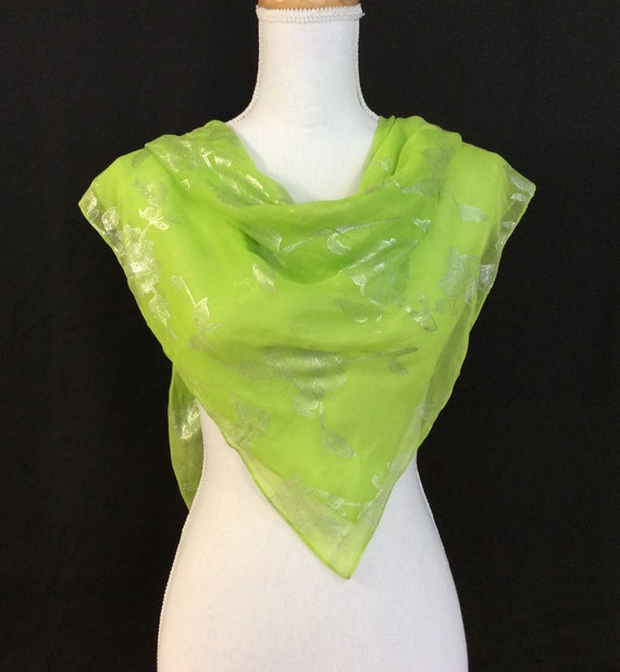 Chartreuse Floral Scarf Best Selling Gifts For Women