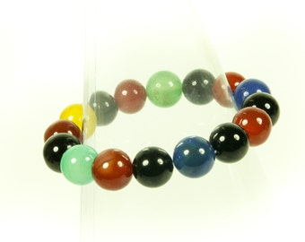 Bold and Beautiful Multi-stone Stretch Gemstone Bracelet.