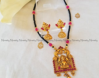 Temple jewelry-imitation jewelry-Mahalakshmi-indian jewelry-metal jewelry-thread jewelry-dori necklace-fashion jewelry-bahubali jewelry
