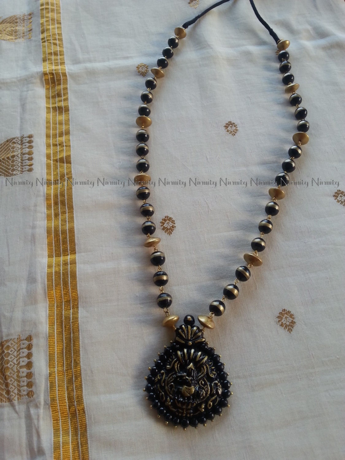 Krishna Terracotta Jewelry Long Black And Gold Krishna Etsy