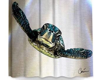 Sea Turtle Shower Curtain By Artist Corina Bakke