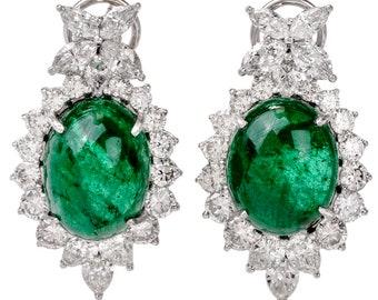 Estate Diamond Oval Cabochon GIA Emerald Clip-On Gold Earrings
