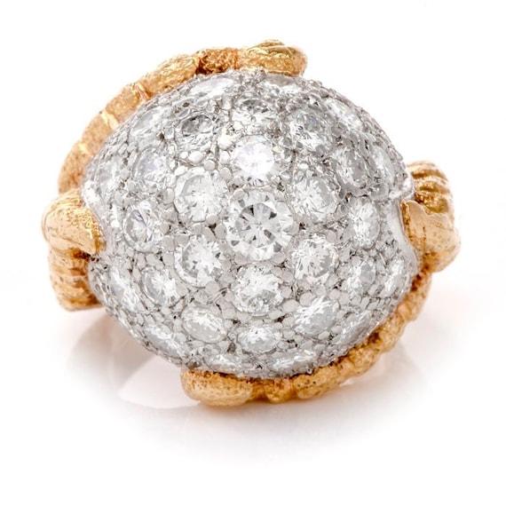 1960's Diamond Platinum Yellow Gold Bombe Cocktai… - image 3