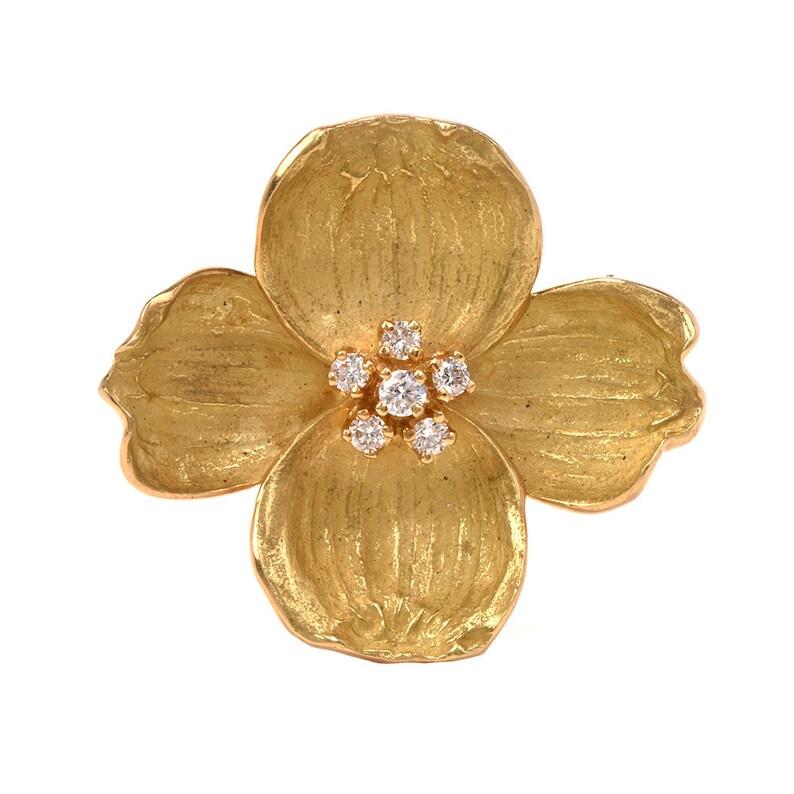 608fa3608bedb Tiffany & Co Diamond Dogwood Flower 18K Yellow Gold Brooch Pin