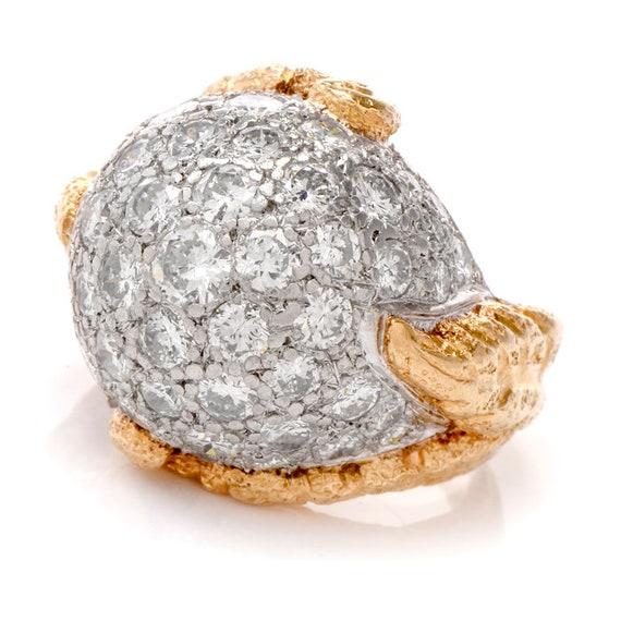 1960's Diamond Platinum Yellow Gold Bombe Cocktai… - image 1