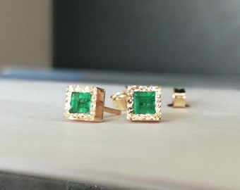 0e68c69c3a Natural Emerald Stud Earrings in 14k Gold, Green Emerald Studs, Handmade  Jewelry