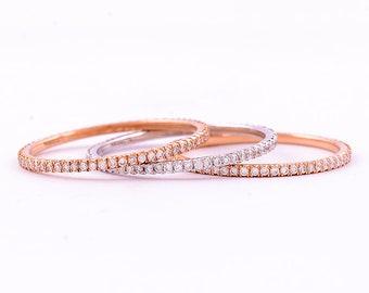 14k Solid or Blanc Diamant Naturel anniversaire Band Ring 0.19 CT tressé