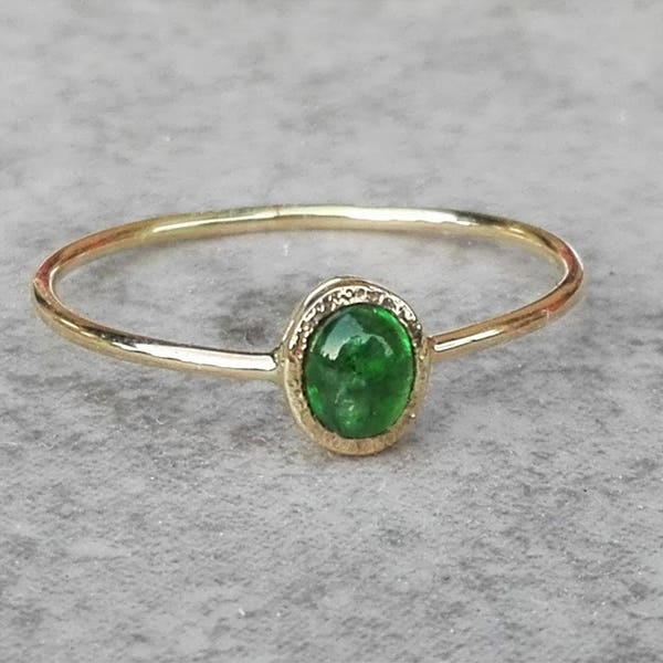 Yellow Gold Oval Emerald Ring With Hidden Heart Dainty Green image 2