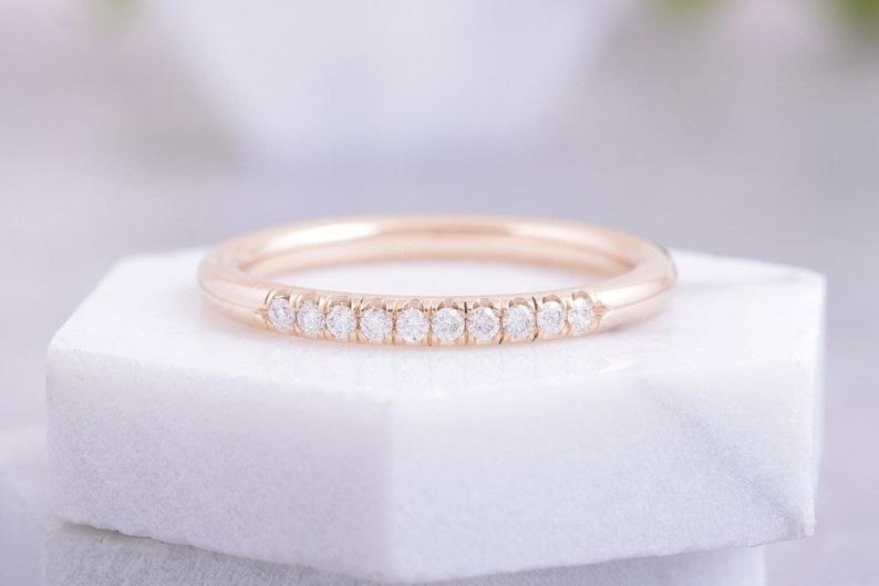 Tylko na zewnątrz 2mm obrączka z diamentami pierścionek zaręczynowy | Etsy RR23