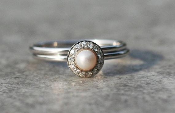 Pearl Wedding Ring Set Halo Engagement Ring Set 14k 18k Etsy