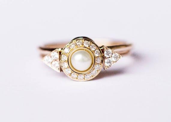 Pearl Wedding Ring Set Pearl Engagement Ring Set Pearl Etsy