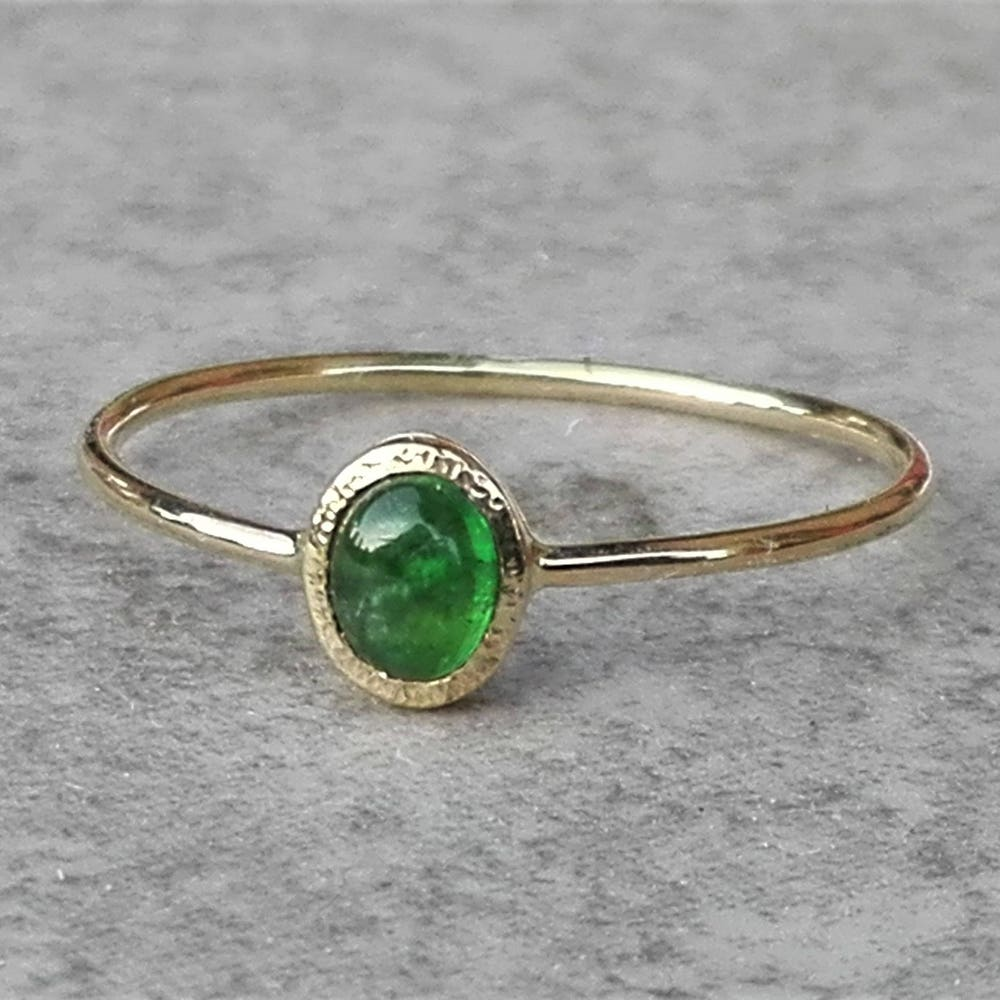 Yellow Gold Oval Emerald Ring With Hidden Heart Dainty Green image 0