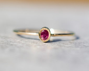 Gold ruby ring, Dainty gold ring, Ruby stacking ring, July Birthstone, Unique gift for her, Christmas, handmade gift