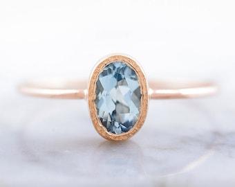 Aquamarine Engagement ring in 14k Rose Gold, Oval Aquamarine ring, Light Blue aquamarine, March Birthstone jewelry, Natural Gemstone ring