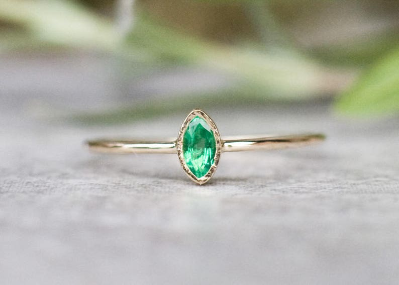 Dainty Marquise Emerald Ring Solid 14k Gold Emerald Ring image 0