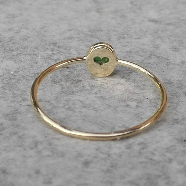 Yellow Gold Oval Emerald Ring With Hidden Heart Dainty Green image 1