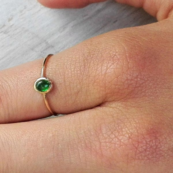 Yellow Gold Oval Emerald Ring With Hidden Heart Dainty Green image 3