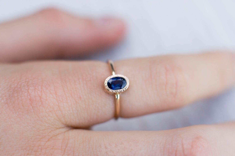Blue sapphire engagement ring September birthstone solid 14k | Etsy