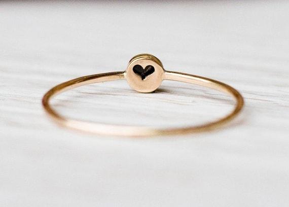 14k Gold schwarzem Onyx Ring, Geburtsstein Februar, Naturstein, Jahrestag Geschenk für sie, Geburtstags Geschenk, minimalistischen Schmuck