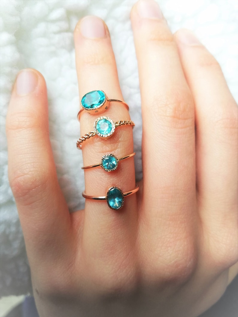 Oval Apatite ring Unique Engagement Ring Natural Apatite Ring Handmade Solitaire Ring Engagement Ring Solid 14k Rose gold Ring