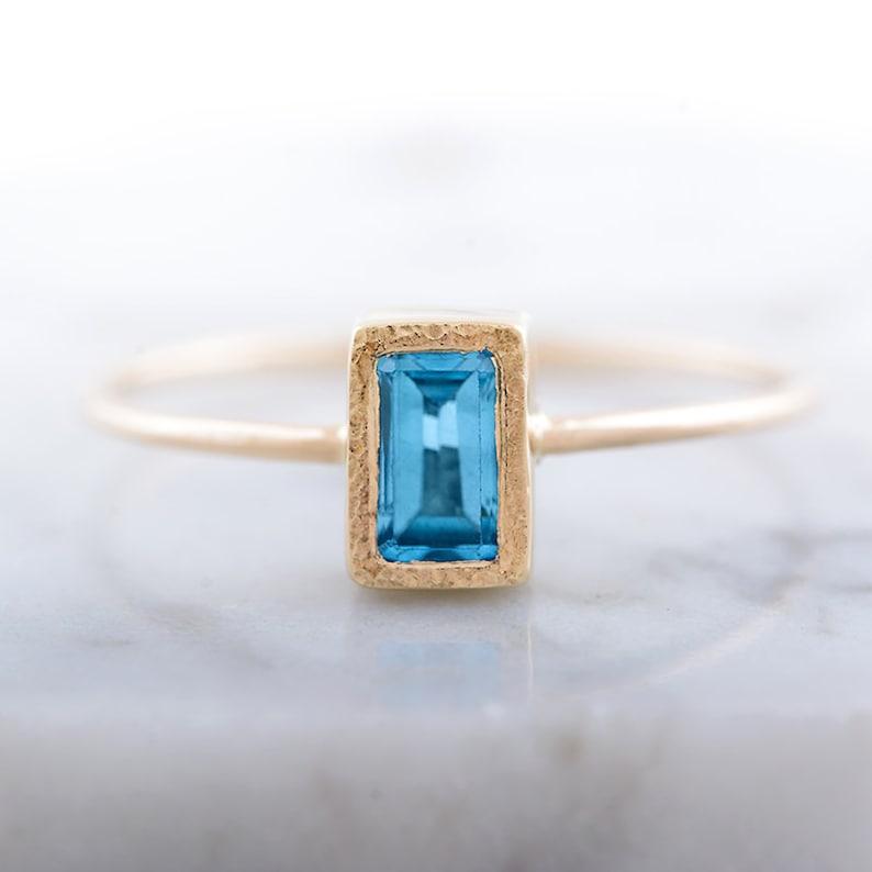 Handmade Ring Rectangle  Ring Topaz Engagement Ring Gold Topaz Ring