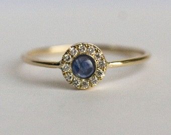 Halo Sapphire Ring in 14k gold, Halo Engagement Ring, Sapphire Ring, Diamond engagement ring, Blue sapphire ring, Diamond ring, Halo ring