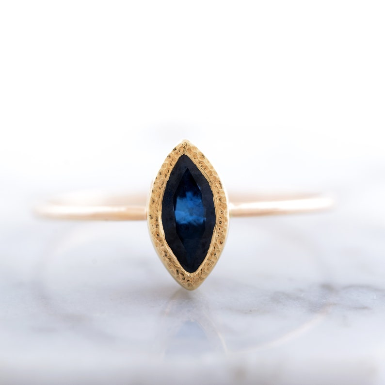 Recycled Gold Ring Raw Sapphire 14K White Gold Ring Unique Statement Sapphire Gold Ring Colorful Sapphire Ready To Ship