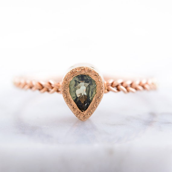 Holiday Gold Gift for Woman Handmade Ring Green Sapphire ring in Solid 14k gold Secret Heart Dainty ring Teardrop Sapphire ring
