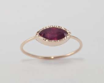 Marquise Ruby Ring, 14k Gold Ruby Engagement Ring, Statement Ring For Woman, Natural Ruby Ring