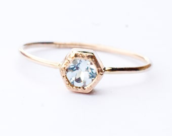 Aquamarine ring in 14k gold, March birthstone, Engagement Ring,hexagon, dainty ring