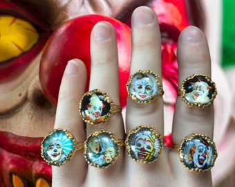 Terrifying clown rings, brass adjustable gifts for her